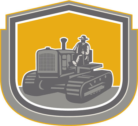 Illlustration of a farmer worker driving riding a vintage tractor plowing farm field set inside shield crest done in retro style on isolated background. Vector