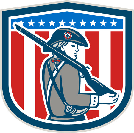 american revolution: Illustration of an American Patriot minuteman holding a musket rifle facing side set inside crest shield with stars on isolated background done in retro style.