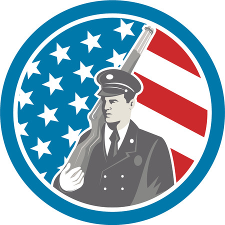 serviceman: Illustration of an American soldier serviceman holding rifle facing side set inside circle with stars and stripes in the background done in retro style.
