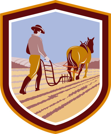 plough: Illustration of farmer and horse plowing farm field viewed from back set inside crest shield done in retro style on isolated background.