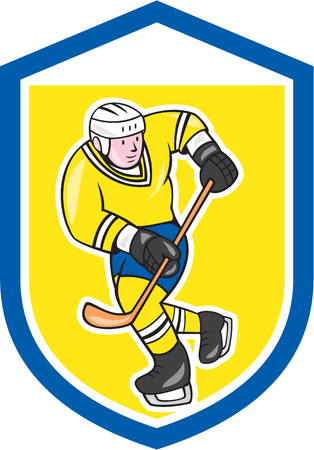 ice hockey player: Illustration of an ice hockey player with hockey stick set inside shield crest done in cartoon style.