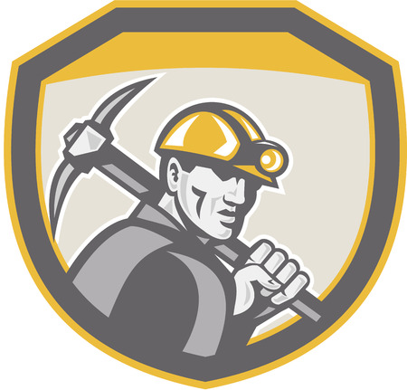 coal miner: Illustration of a coal miner hardhat holding pick axe inside a shield done in retro style.