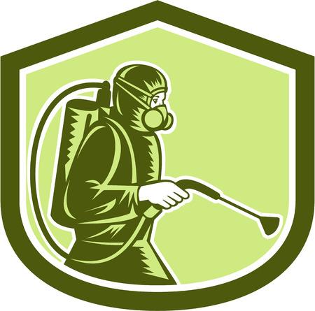 害虫制御害虫駆除業者側面シールドの紋章中レトロなスタイルで行われる分離の背景に設定を噴霧のイラスト。  イラスト・ベクター素材