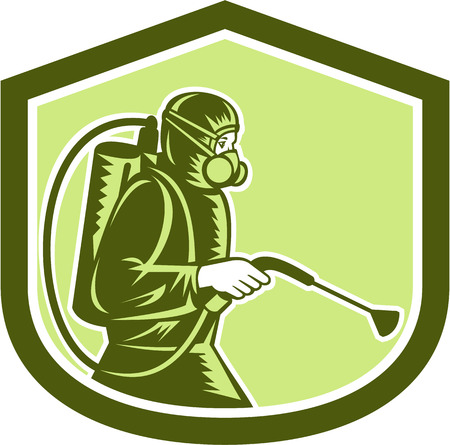 Illustration of pest control exterminator spraying side view set inside shield crest on isolated background done in retro style.