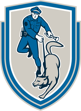 trained: Illustration of a policeman police officer holding torch flashlight with trained police guard dog canine viewed from front set inside shield crest on isolated background done in retro style.