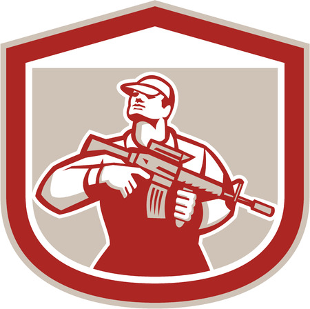 serviceman: Illustration of an American soldier serviceman holding assault rifle looking up set inside shield crest on isolated background done in retro style.  Illustration
