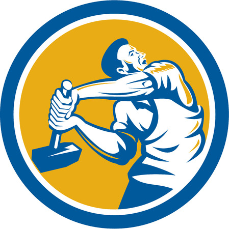 sledgehammer: Illustration of a union worker strike striking using sledgehammer hammer done in retro style set inside shield crest on isolated white background. Illustration