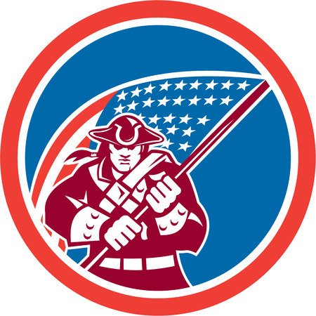 Illustration of an American Patriot brandishing holding a flag set inside a circle with on isolated background. Vector