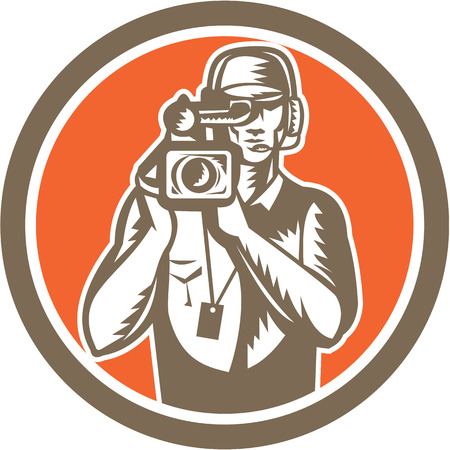 Illustration of a cameraman movie director holding filming vintage movie video camera set inside circle done in retro style.