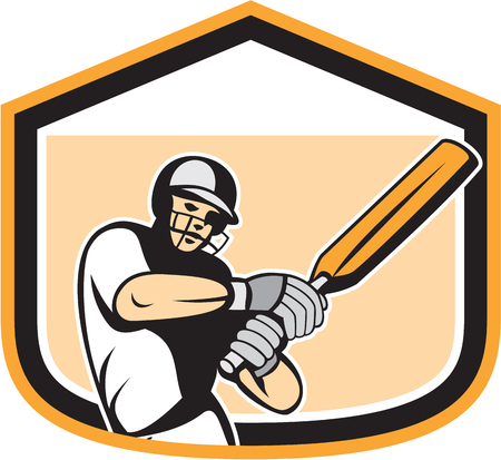 Illustration of a cricket player batsman with bat batting set inside a crest shield done in cartoon style on isolated background. Vector