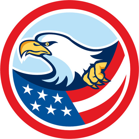 clutching: Illustration of a bald eagle clutching an american stars and stripes flag set inside circle on isolated background done in retro style.