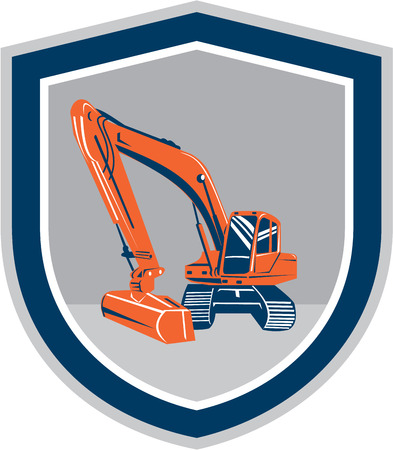 digger: Illustration of a construction mechanical digger excavator set inside shield crest on isolated background done in retro style.