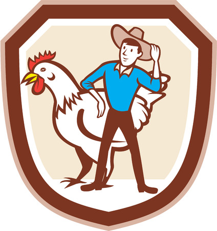 Illustration of a hen chicken fowl and male farmer set inside shield crest done in cartoon style.