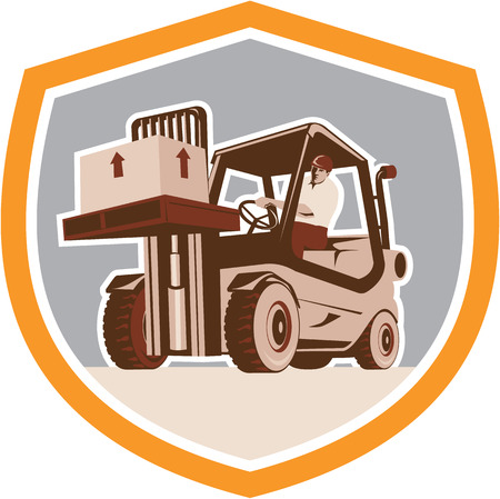work crate: Illustration of a forklift truck and driver at work lifting handling box crate done in retro style inside shield crest shape.