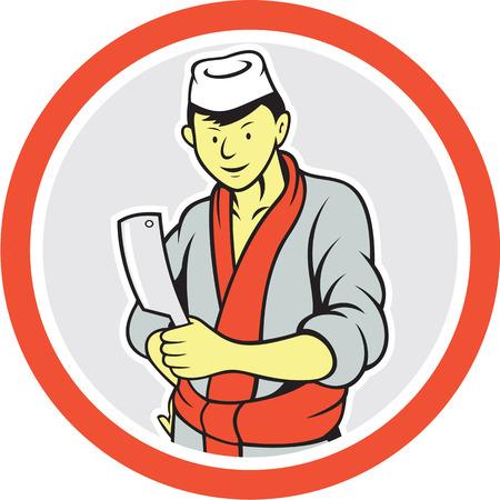 viande couteau: Illustration d'un travailleur de coupe de boucher japonais avec un couteau de couteau de boucher face c�t� mis l'int�rieur du cercle sur fond isol� fait dans le style de bande dessin�e. Illustration