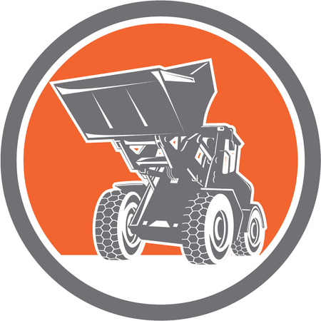 digger: Illustration of a construction front end loader digger excavator viewed from front set inside circle done in retro style . Illustration