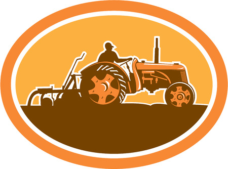 sideview: Illustration of a farmer driving riding vintage tractor plowing field sideview set inside an oval done in retro style. Illustration