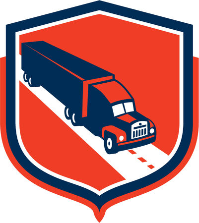 truck trailer: Illustration of a container truck and trailer set inside shield crest shape on isolated background done in retro style.
