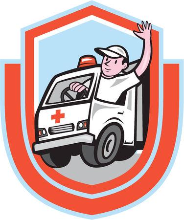 emergency vehicle: Illustrazione di un veicolo di emergenza ambulanza con autista agitando impostato all'interno scudo cresta su sfondo isolato fatto in stile cartone animato.