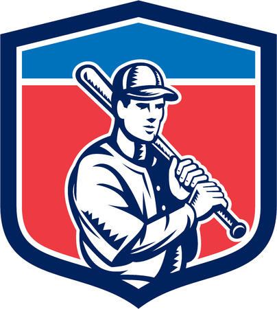 hitter: Illustration of a american baseball player batter hitter holding bat on shoulder set inside crest shield done in retro style on isolated background. Illustration