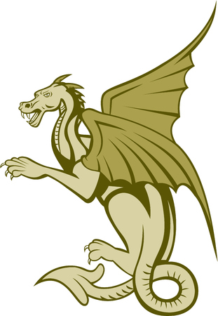 fullbody: Illustration of a green dragon full body viewed from side on isolated white background. Illustration