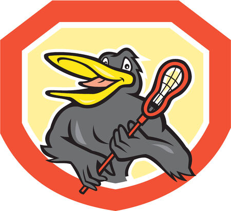 crosse: Illustration of a black bird lacrosse player holding a crosse or lacrosse stick viewed from front set inside shield crest shape on isolated background done in cartoon style.