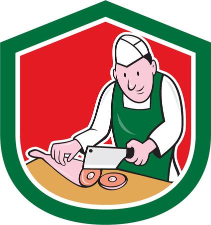 viande couteau: Illustration d'un travailleur de coupe de boucher avec un couteau � d�couper la viande de cuisse de couperet � viande au sein d une cr�te de bouclier sur fond isol� fait dans le style de bande dessin�e.