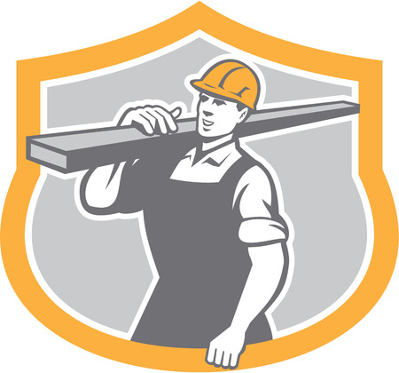 lumber industry: Illustration of a carpenter builder carry carrying lumber on shoulder set inside shield crest shape on isolated background.