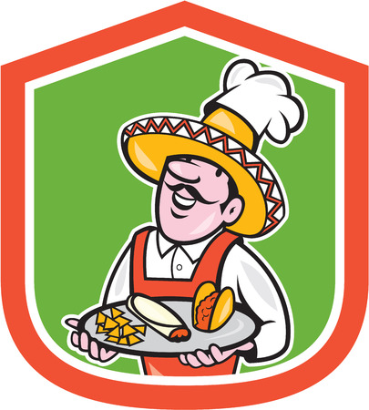 burrito: Illustration of a cartoon Mexican chef cook wearing chef hat and sombrero serving plate full of tacos burrito and corn chips set inside shield crest on isolated background.