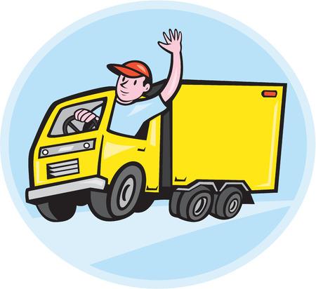 Illustratie van een vrachtwagen vrachtwagen met chauffeur zwaaien gedaan in cartoon stijl op geïsoleerde achtergrond