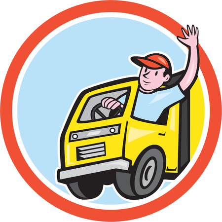 truck driver: Illustration of a delivery truck lorry with driver waving done in cartoon style on isolated background set inside a circle.