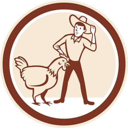 feeder: Illustration of hen chicken with male farmer feeder  set inside circle done in cartoon style.