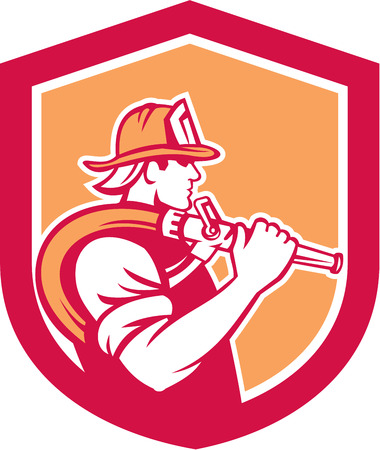 over the shoulder: Illustration of a fireman fire fighter emergency worker holding fire hose over his shoulder viewed from the side set inside shield crest done in retro style. Illustration