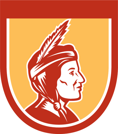 sideview: Illustration of a native american indian chief sideview with headdress set inside shield crest on isolated ackground. Illustration