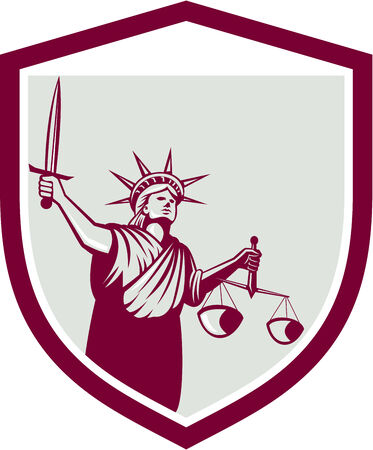 lady justice: Illustration of lady statue of liberty facing front holding weighing scales of justice and holding sword set inside crest shield on isolated white background. Illustration