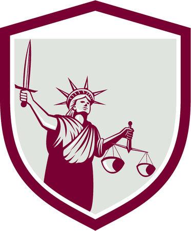 dama de la justicia: Ilustración de dama estatua de la libertad frente a la celebración frente balanzas de la justicia y la celebración de la espada dentro de escudo escudo sobre fondo blanco aislado. Vectores