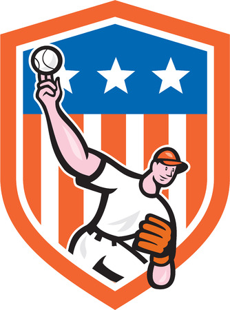 Illustration of an american baseball player pitcher outfilelder throwing ball with stars stripes in background set inside crest shield done in cartoon style.  Vector