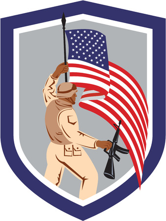 assault rifle: Illustration of an American soldier serviceman holding american flag with assault rifle facing side set inside shield crest on isolated white background.