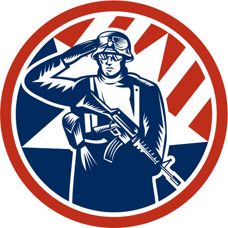 serviceman: Illustration of an American soldier serviceman saluting holding rifle gun facing front inside circle done in retro style.