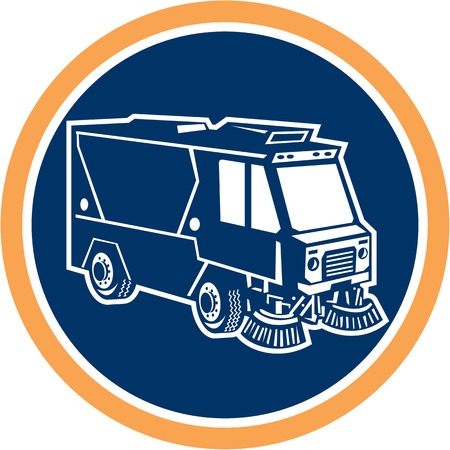 sweeper: Illustration of a street cleaner truck sweeping cleaning from front set inside circle on isolated background done in retro style.