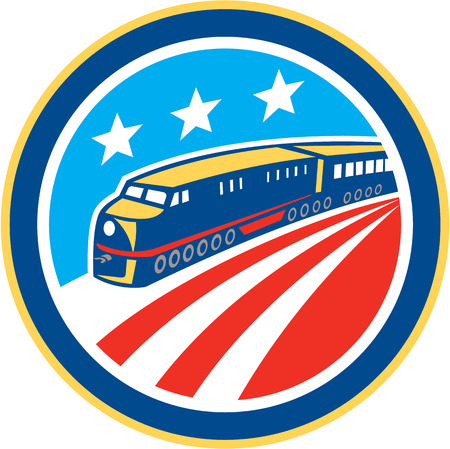 diesel train: Illustration of a diesel train viewed from a high angle set inside circle with American stars and stripes flag in background done in retro style. Illustration