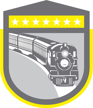 steam locomotive: Illustration of a steam train locomotive viewed from front set inside shield crest on isolated background done in retro style.