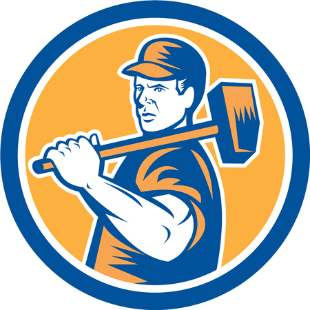 over the shoulder: Illustration of a union worker holding sledgehammer hammer over shoulder done in retro style set inside circle on isolated background.