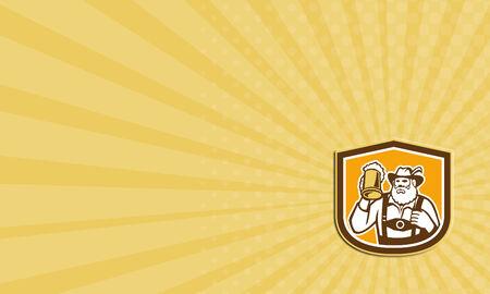lederhosen: Business card showing illustration of a Bavarian beer drinker raising beer mug drinking looking up wearing lederhosen and German hat set inside shield crest shape done in retro style. Stock Photo