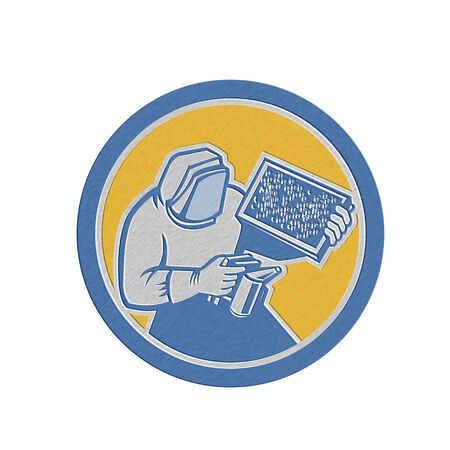 brood: Metallic styled illustration of a beekeeper holding a bee smoker and brood frame working in apiary wearing bee suit set inside a circle done in retro style.
