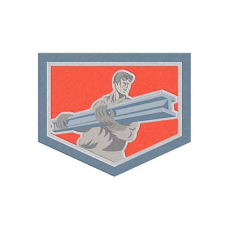 steel worker: Metallic styled illustration of construction steel worker carrying i-beam girder viewed from front set inside shield crest done in retro woodcut style.