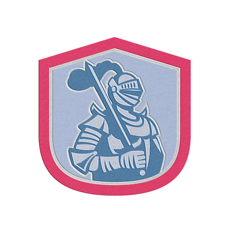 brandishing: Metallic styled illustration of knight in full armor brandishing a sword set inside a shield crest done in retro style.