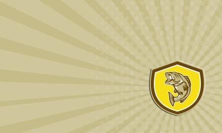 largemouth bass: Tarjeta de negocios que muestra el ejemplo de un pez saltando lobina negra dentro de una cresta escudo hecho en estilo retro. Foto de archivo