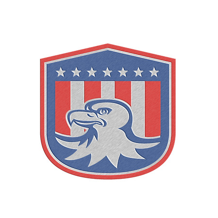 Metallic styled illustration of a bald eagle head with american stars stripes flag set inside a shield crest done in retro style. illustration