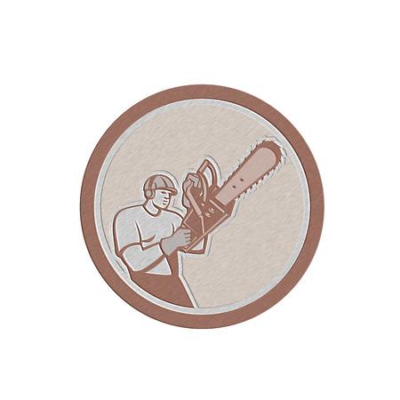 Metallic styled illustration of lumberjack arborist tree surgeon holding a chainsaw set inside a circle on isolated white background.